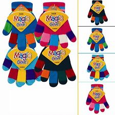 Warm & Cosy Kids Magic Gloves Small Boys Multi Striped Stretchy Winter Thermal