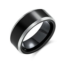 Bling Jewelry Mens Black Flat Top Ring Beveled Tungsten Wedding Band 8mm