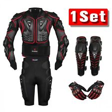 Red Motorcycle Body Jacket Suit Moto Racing Protective Armor Full Clothing Set