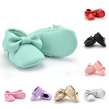 Baby Kids Infant Boy Girl Toddlers bowknot Leather Soft Sole Shoes Size.11.12.13