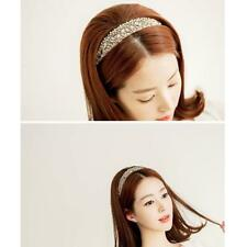 Lady Elegant Girls Lace Pearl Hairband Rhinestone Crystal Headband White Pink