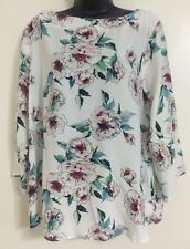 NEW Ex DP Off White Floral Roses Print Flare Blouse Top Size 12/14/18