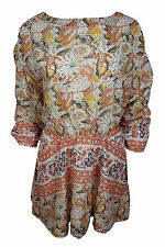 Free People Orange Yellow Floral Cut Out Back Mini A-Line Dress Wome $128  NWT