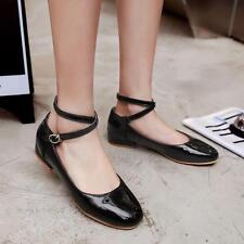 New Womens Flats Patent Leather Ballet Pumps Ankle Strap Ballerina Shoes 9098675