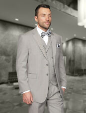 Mens 3 Piece 2 BUTTON Grey 150S WOOL BUSINESS EVENING SUIT Fashion Fit Pleated