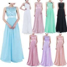 Women's Embroidered Long Prom Bridesmaid Party Wedding Evening Prom Gown Dress