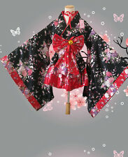 Women Japanese Kimono Lolita Maid Dress Uniform Outfit Anime Cosplay Costume New
