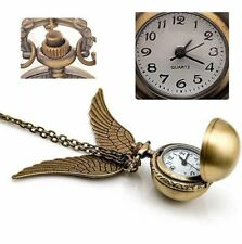 Antique Golden Snitch Quartz Pocket Watch Wings Necklace Chain (Box) A2