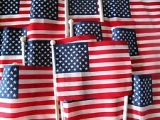 """12 or 100 ~ 4"""" x 6"""" Hand Held Stick USA Flags ~10"""" Wooden Staff w/ Ball Topper"""