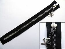 Zip, Zipper, Skull Puller, Closed End, Metal, YKK, Black