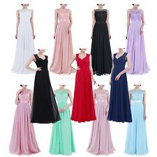 Ladies Lace Chiffon Long Tulle Maxi Dress Bridesmaid Wedding Evening Prom Gown