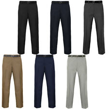 Mens Belted Formal Smart Casual Office Trousers Business Work Pants Waist Size