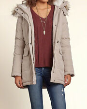 Abercrombie & Fitch - Hollister Womens Jacket Parka Down Filled M Stone NWT