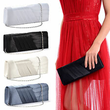 Women Satin Pleated Wedding Bridal Evening Party Club Clutch Purse Bag Handbag