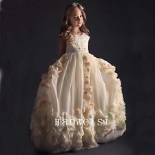 Elegant Flower Girl Dress Bridesmaid Dresses Bead Chiffon Lace Party Gown Custom