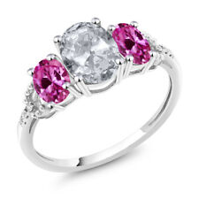 10K White Gold 2.35 Ct Oval White Topaz Pink Created Sapphire 3-Stone Ring