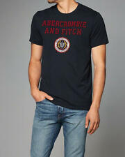 Abercrombie & Fitch T-Shirt Mens Applique Logo Graphic Tee Shirt M Navy NWT