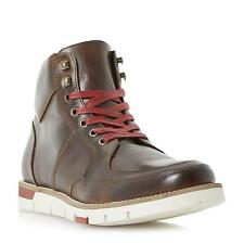 Dune Bertie Mens CEDRIC Wedge Sole Colour Pop Leather Boot in Brown