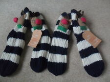 2 x EX M&S NAVY STRIPE 3D RUDOLPH REINDEER KNITTED ONE SIZE LADIES SLIPPER SOCKS