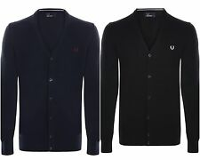 Fred Perry Mens Button Front Cardigan in Merino Wool