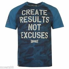 "TapouT ""NO EXCUSES"" Panel Mens Blue T Shirt NEW UFC MMA Tee"