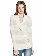 Guess Womens Shawl Collar w- Lace Up Detail Sweater Jumper Top XS S Cream NWT