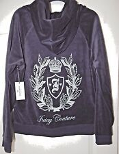 JUICY COUTURE VELOUR PLEATED HOODIE BLUE LEAFY CREST SILVER LOGO Size M; L NEW