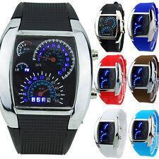 HOT SALE RPM Turbo Blue Flash LED Mens Sports Car Meter Dial Watch Candid