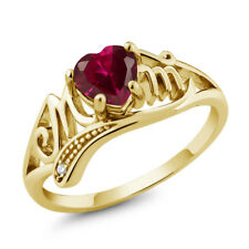 0.97 Ct Heart Shape Red Created Ruby 18K Yellow Gold Plated Silver MOM Ring