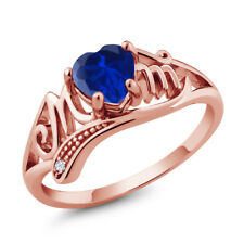Blue Simulated Sapphire White Created Sapphire 18K Rose Gold Plated Silver Ring