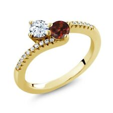 0.94 Ct White Topaz Red Garnet Two Stone 18K Yellow Gold Plated Silver Ring