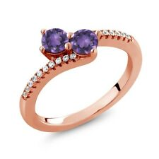 0.72 Ct Round Purple Amethyst Two Stone 18K Rose Gold Plated Silver Ring
