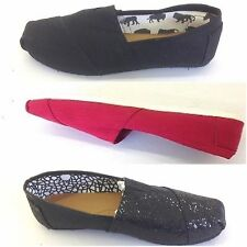 Canvas Loafers Sneakers Womens Flats Pumps Espadrille Glitter Plimsoles Tom Shoe