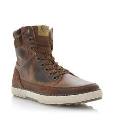 Dune Mens SHEARER Shearling Lined Leather High Top Boot in Tan