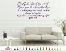 John 3:16 For God So Loved the World Bible Wall Vinyl Decal Scripture Sticker