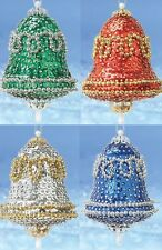 """Vintage Bells"" kit makes 2 Ornaments Christmas  Beads, Sequins, pins  Craft NEW"