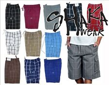 1 New Men's Checker Plaid Shorts Loose Fitting Shorts Hip Hop Casual Size S-5XL