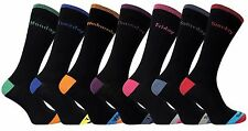 7 Pack Mens Black Colored Heel and Toe Cotton Days of the Week Casual Crew Socks