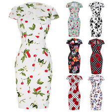Women Floral 50s Vintage Style Cocktail Party Wiggle Pencil Dress Polka Dots