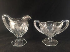 Scalloped, Floral Etched Glass Creamer & Sugar Bowl w/ Handles