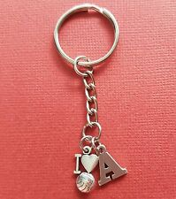 Netball Keyring and Initial Letter A to Z Keychain Charms personalise