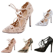 Vogue Women's Gladiator Strappy Lace Up Stiletto High Heel Cut Out Sandals Caged