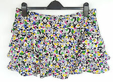 TOPSHOP WHITE&MULTICOLOURED FLORAL CREPE FRILL TIERED MINI SKIRT SIZE 14 W36 L15