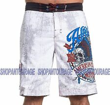 AFFLICTION AC Vision Quest 101BS142 Men`s New White Boardshorts