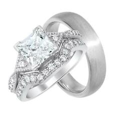 His and Her Princess Cut CZ Wedding Engagement Ring Set for Him & Her