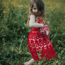 Cute Girls Baby Strappy Laciness Hollow Out Lace Red Dress Tank Dress 6M-4Y