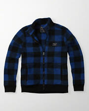 Abercrombie & Fitch Mens Jacket Trail Fleece Mock Neck L XL Blue Black Plaid NWT
