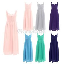 Flower Kids Girls Chiffon Pleated Dress Princess Pageant Wedding Bridesmaid Gown
