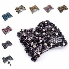 UK SELLER EZ Magic Beads Double Hair Comb Clip Stretchy Diamonds Ladies Party