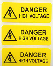 Electrical Safety Warning Labels - High Voltage Labels - Yellow 50mm x 20mm
